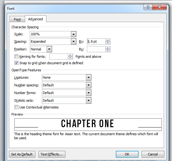 chapter pages ms word